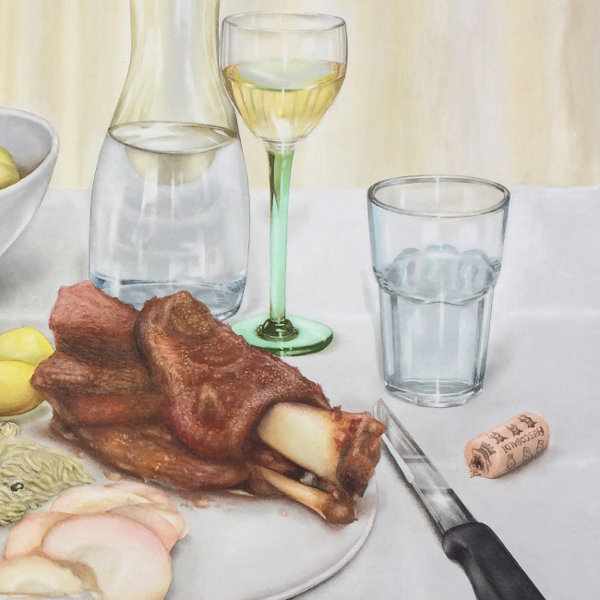 Dinner for One on the last day...of a pig, 2018, Aquarell, 105 x 126 cm